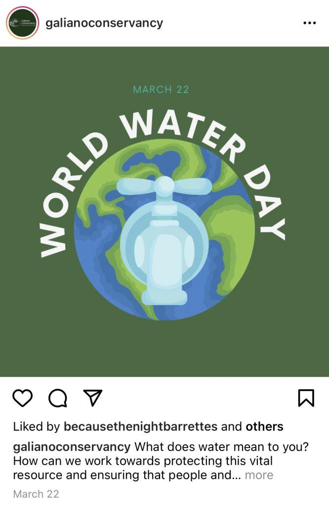 Galiano Conservancy Instagram World Water Day Post